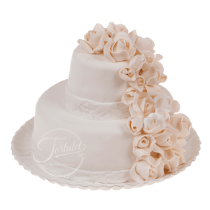 Tort nunta trandafiri albi 2